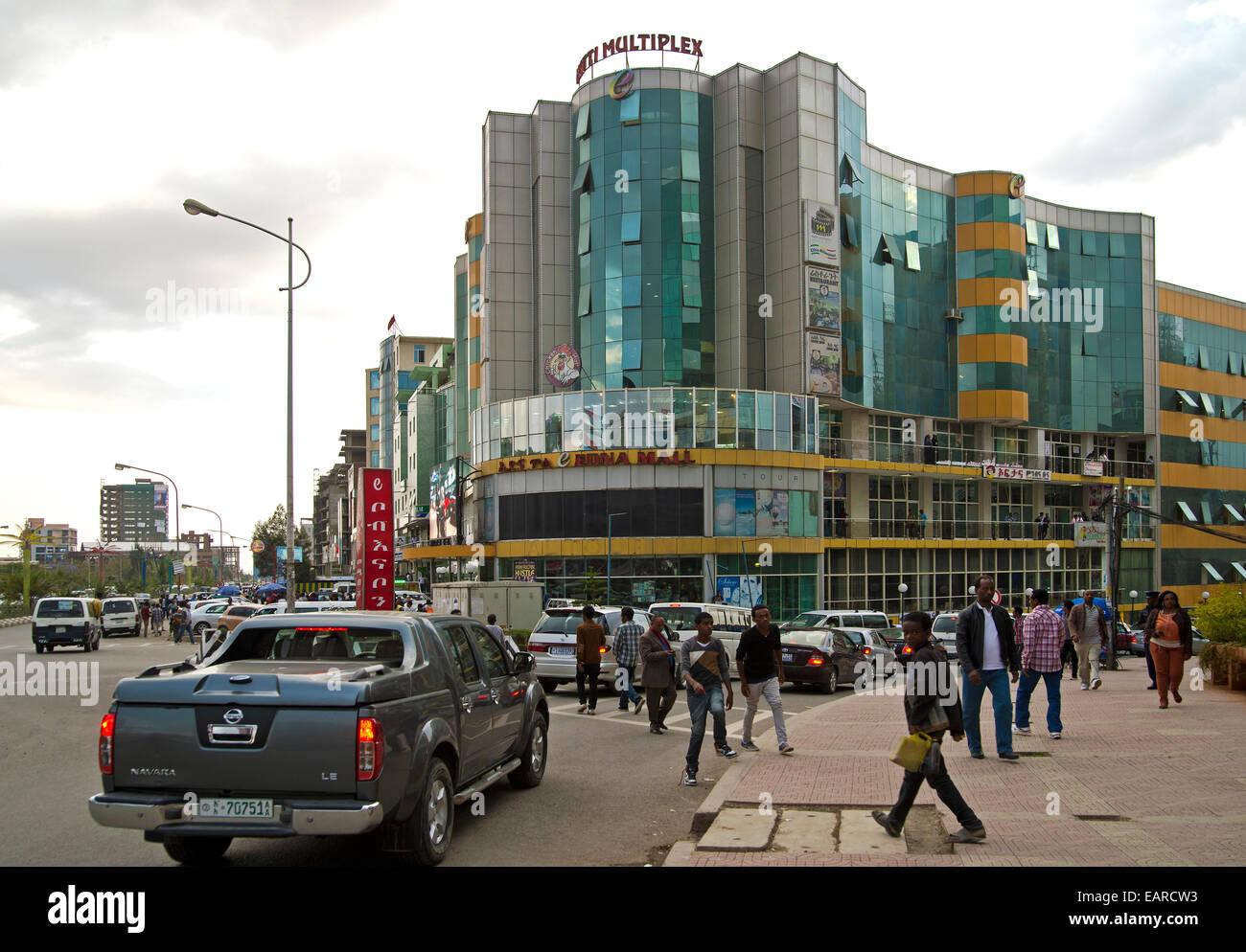 Edna Mall supermarket with the Matti Multiplex cinema, Medhane Alem Circle, Addis Ababa, Ethiopia - Stock Image