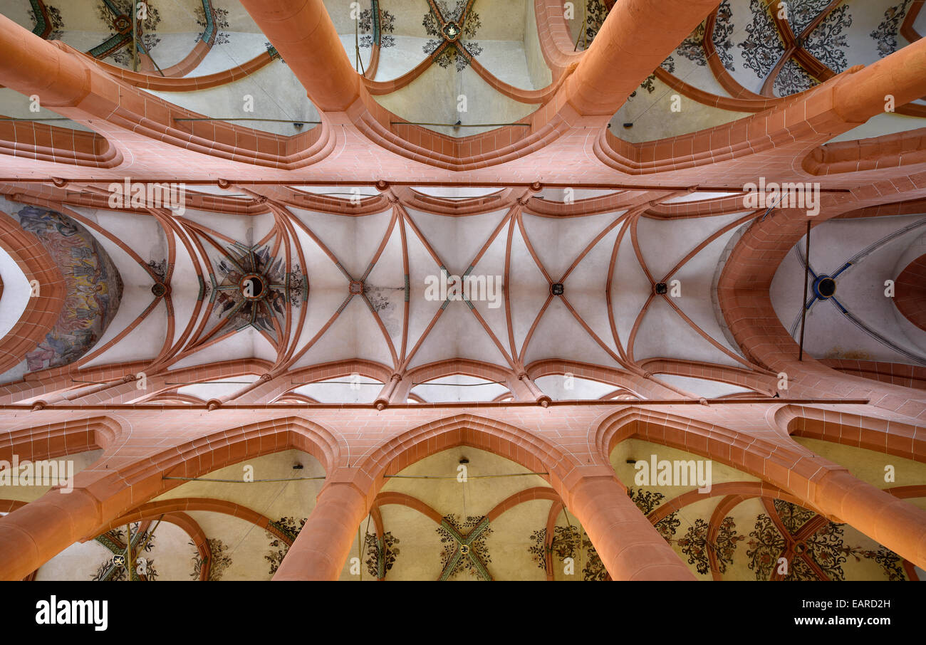 Late Gothic cross vault, ceiling view, Heiliggeistkirche or Holy Ghost Church, Heidelberg, Baden-Württemberg, - Stock Image