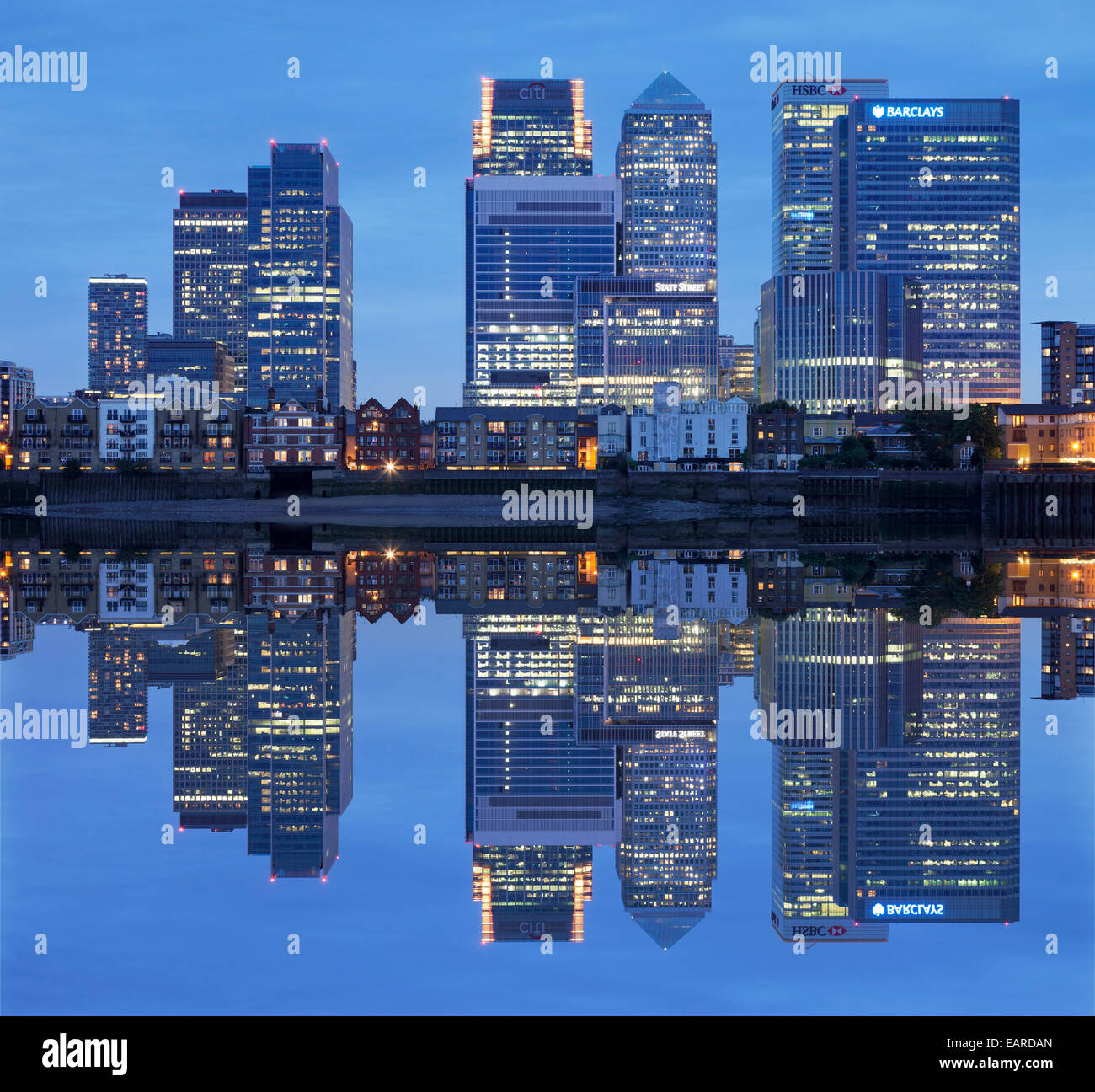 View over the Thames on Canary Wharf, Docklands, London, England, United Kingdom - Stock Image