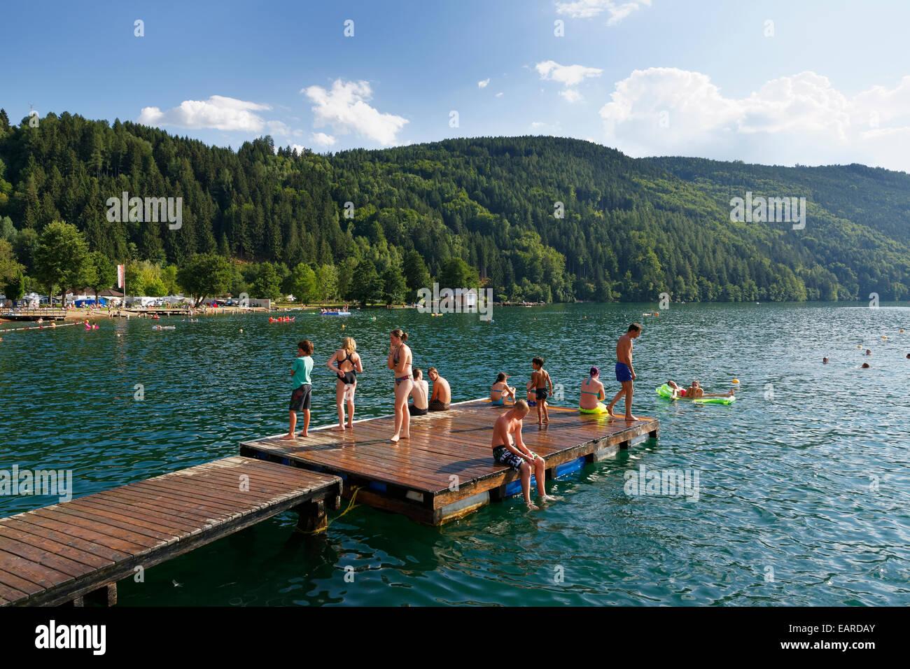 Bathing pontoon on Lake Millstatt, Döbriach, Radenthein, Spittal an der Drau, Carinthia, Austria - Stock Image