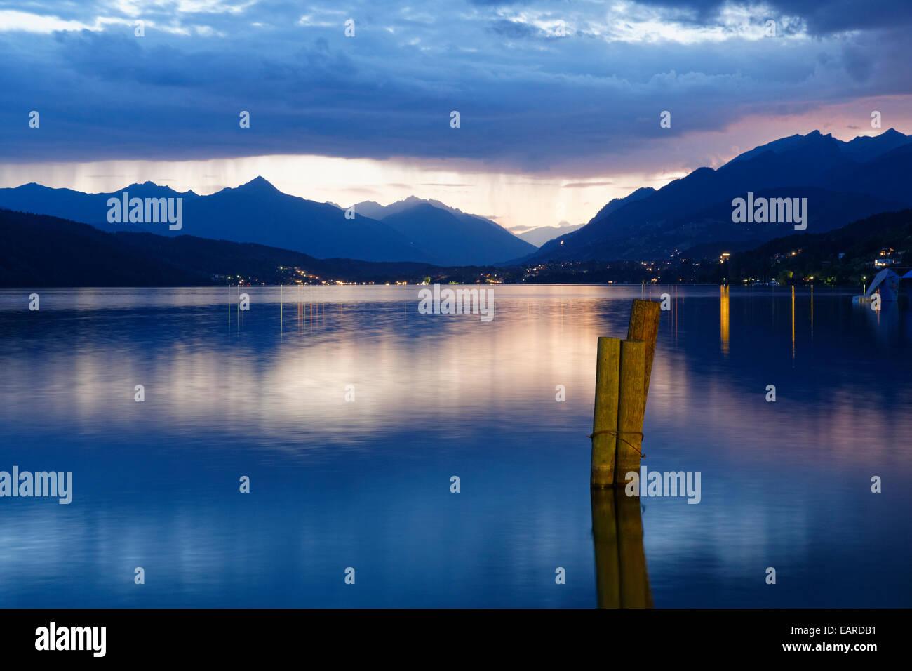 Lake Millstatt, evening mood, Millstatt am See, Spittal an der Drau, Carinthia, Austria - Stock Image