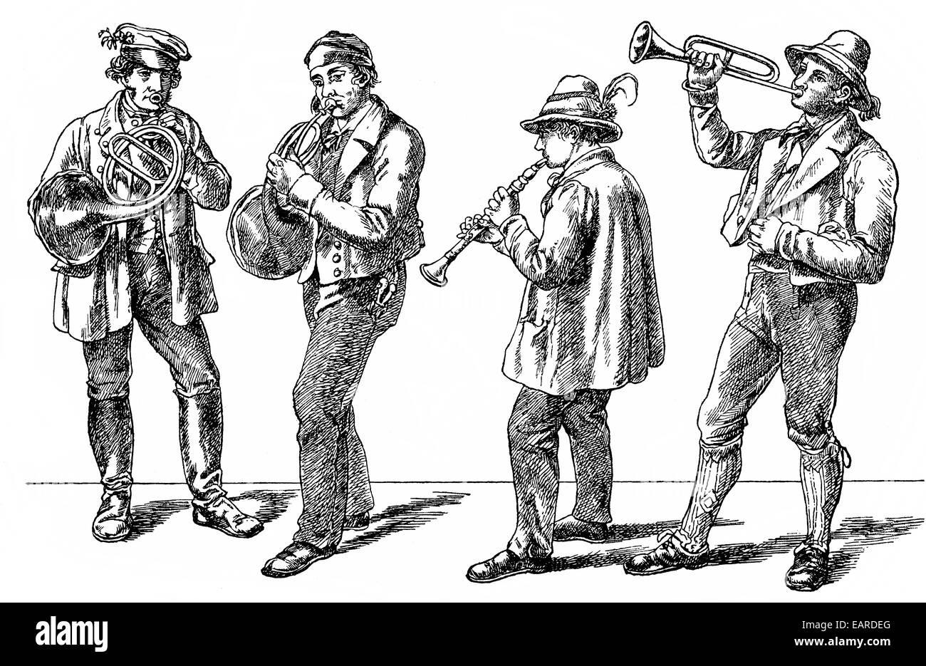peasant musicians, folk music from the 19th Century, Bauernmusikanten, Volkstümliche Musik aus dem 19. Jahrhundert - Stock Image