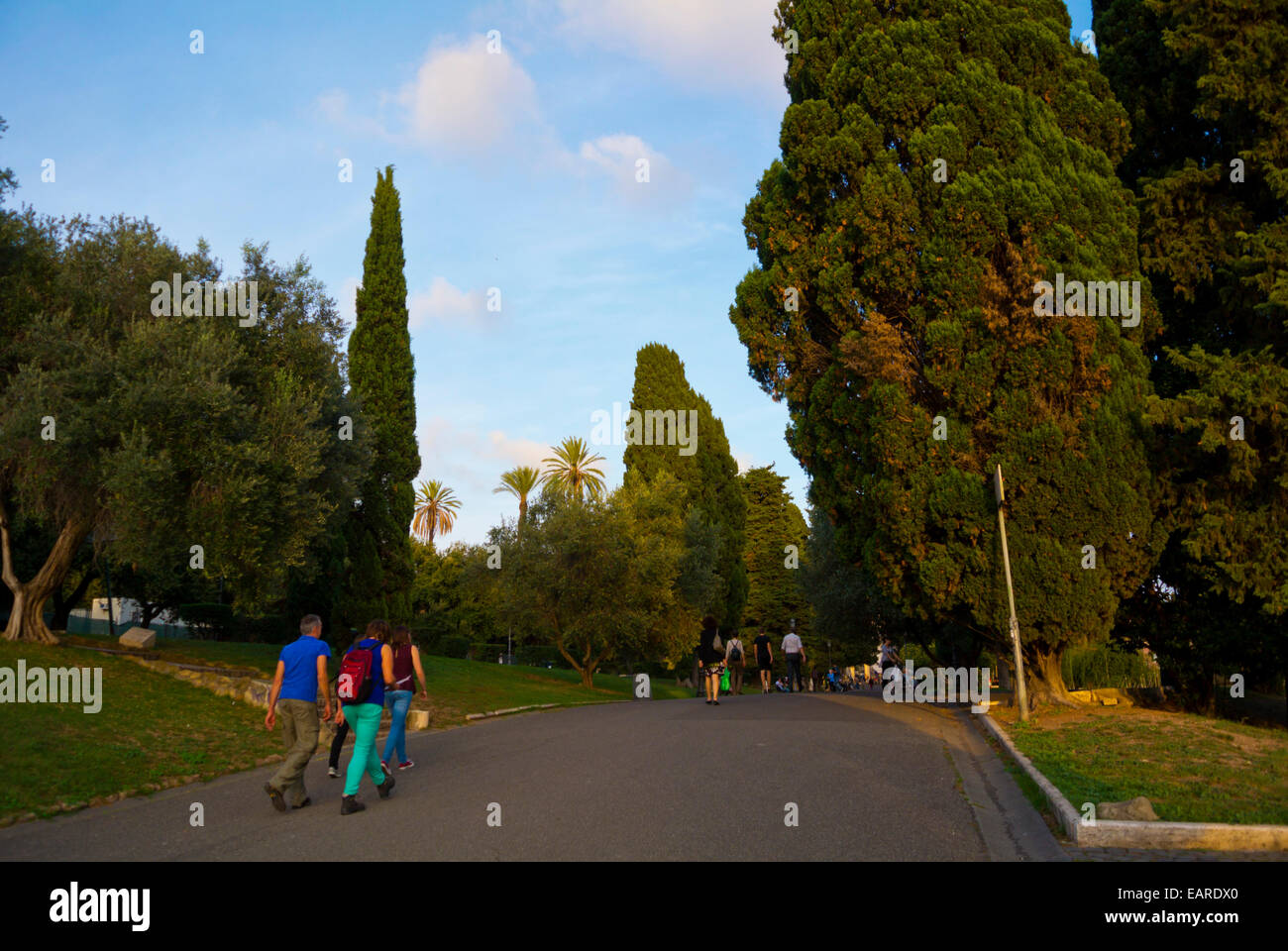 Parco delle Colle Oppio, park on one of the seven hills of Rome, Monti district, Rome, Italy - Stock Image