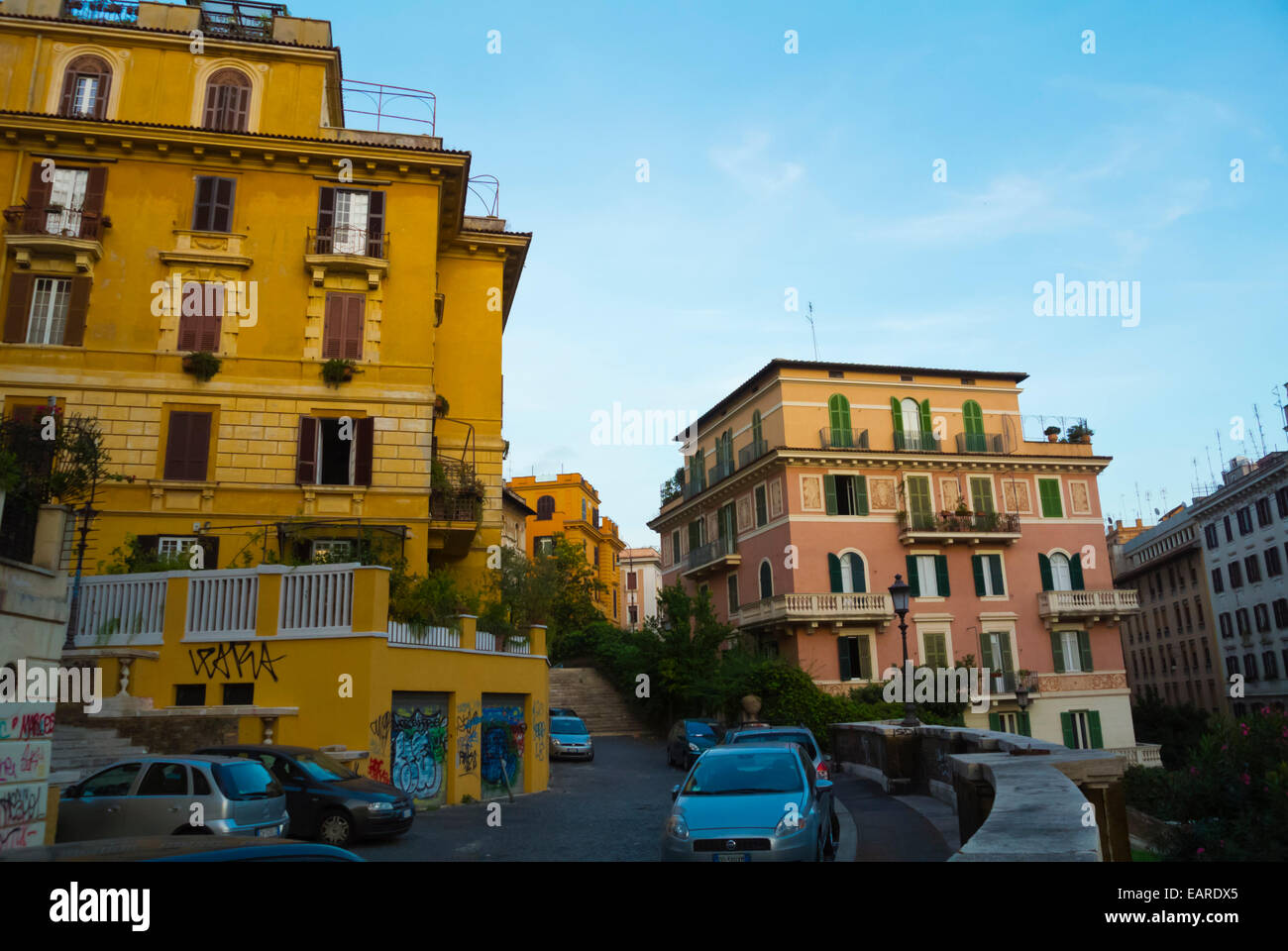 Residential neighbourghood, Monti district, central Rome, Italy - Stock Image
