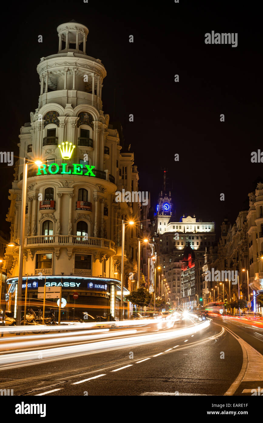 Gran Via in Madrid at night with traffic Stock Photo
