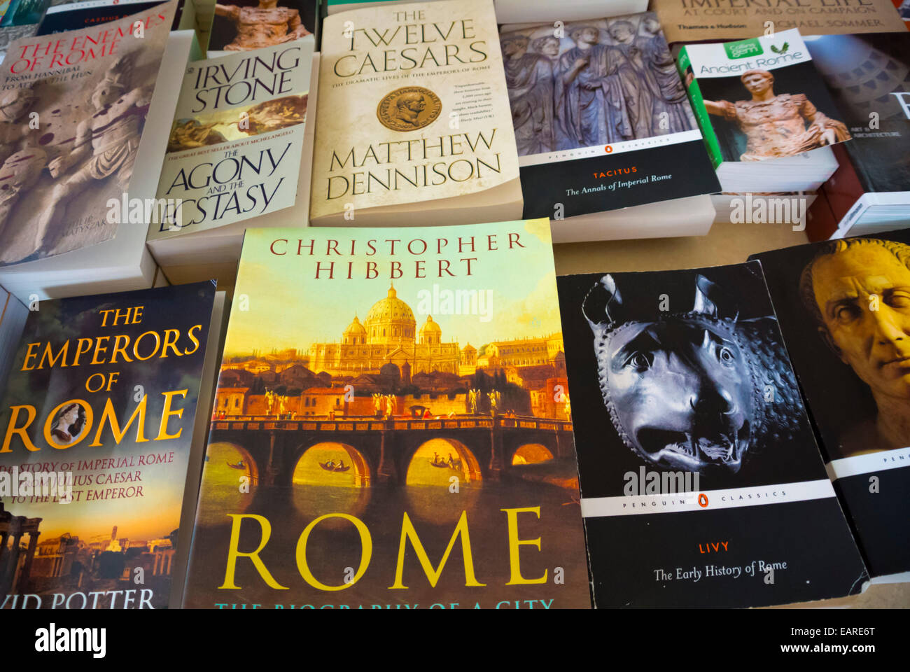 Books about Rome,  Rome, Italy - Stock Image