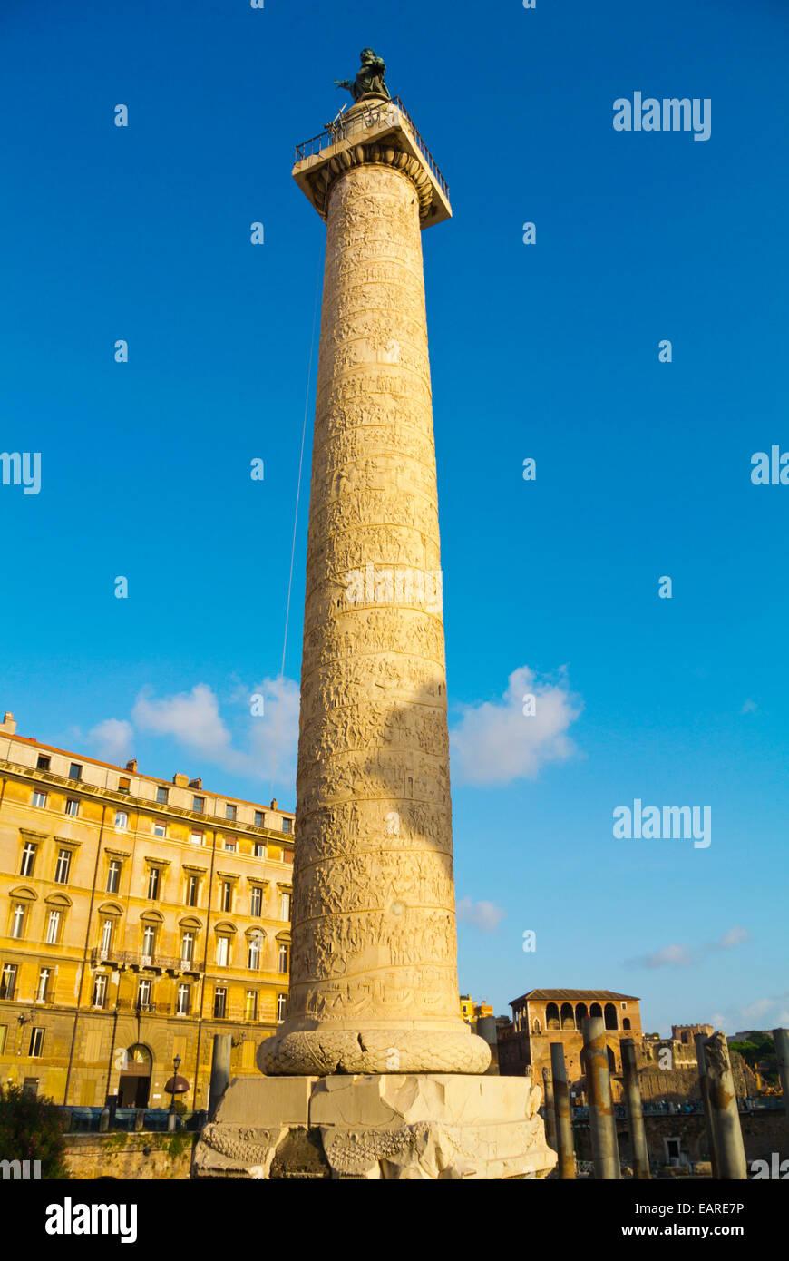 Colonna Traiana, Trajan's Column, Piazza Foro traiano square, Foro di Traiano, Forum Traiani, Trajan's Forum, ancient Stock Photo