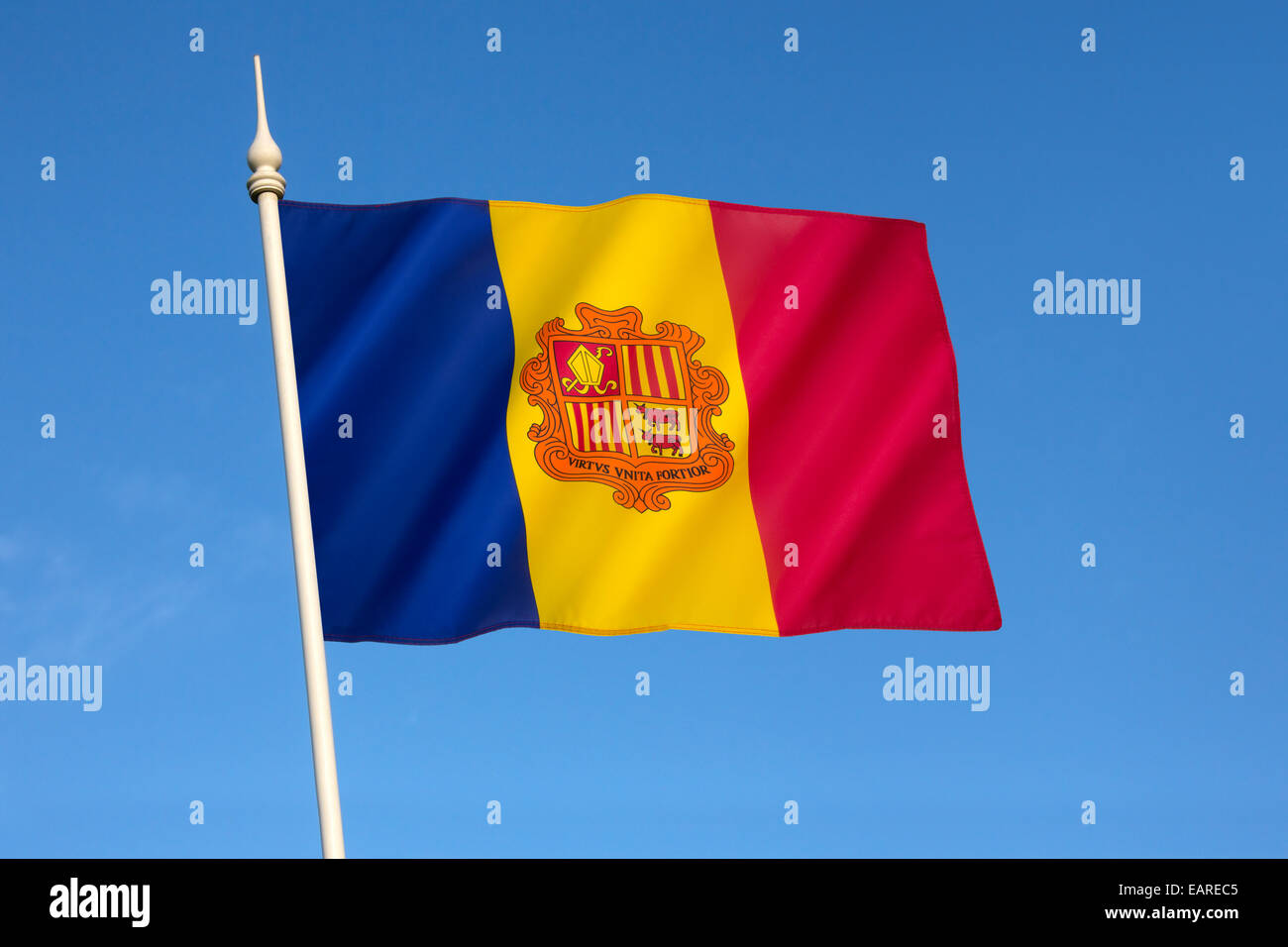 The national flag of the Principality of Andorra - Stock Image