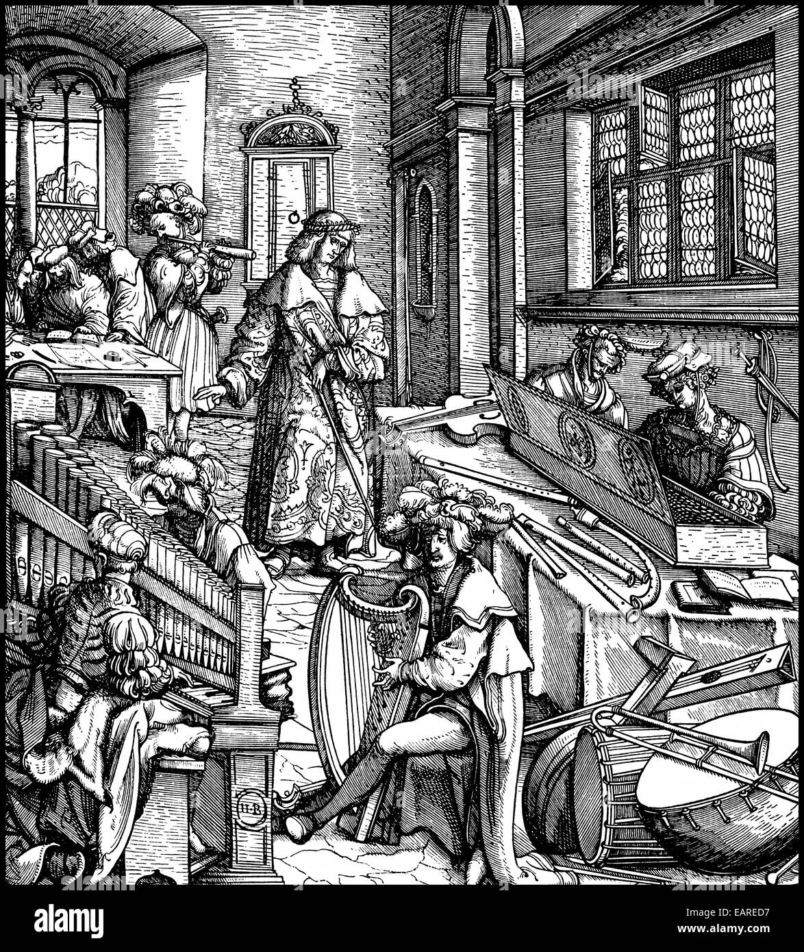 woodcut by Hans Burkmair, illustrations from Weisskunig, autobiographical publication by Emperor Maximilian I, with - Stock Image