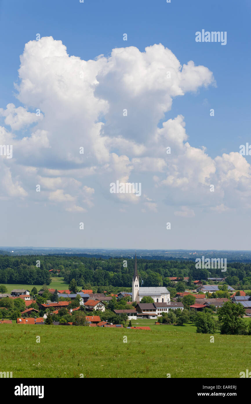 Townscape, Au bei Bad Aibling, Bad Feilnbach, Upper Bavaria, Bavaria, Germany - Stock Image