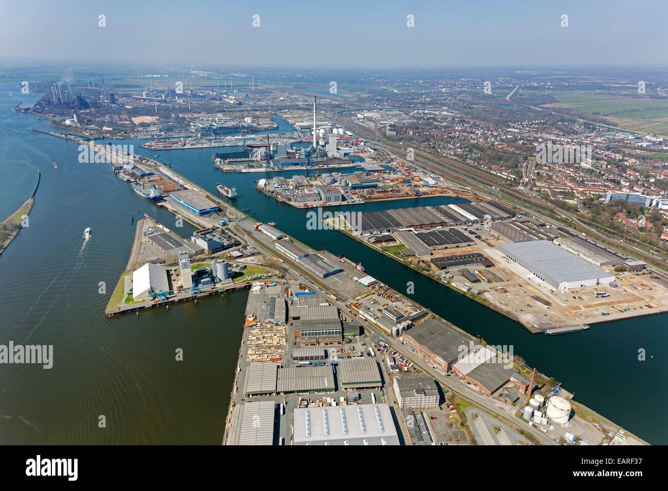 Aerial view, Port of Bremen, harbours on the Weser River, Bremen, Bremen, Germany - Stock Image