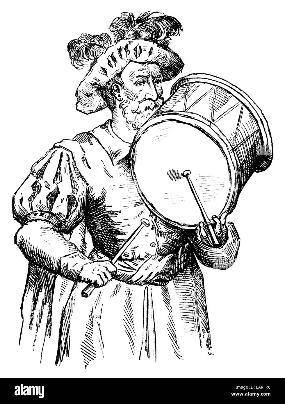 medieval drummer, holding the drumstick in the typical way , Trommler aus dem Mittelalter mit einer speziellen Haltung - Stock Image
