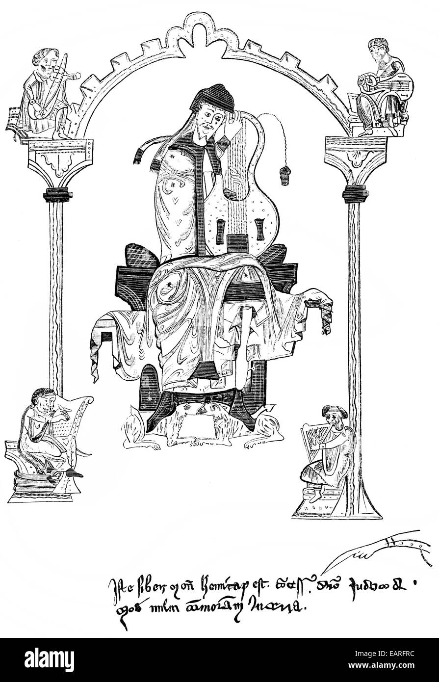 illustration from the Book of Psalms, King David playing the Cythara teutonica, a lyre, Abbildung aus dem Psalmenbuch Stock Photo