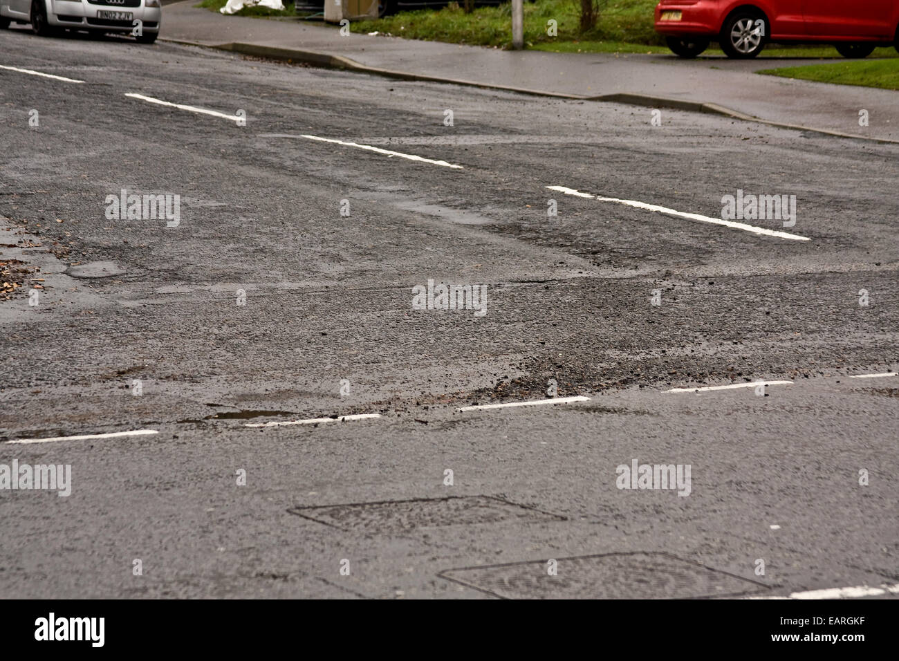 Councils are being invited to bid for a share of a £168 million Pothole Fund to repair local roads, making - Stock Image