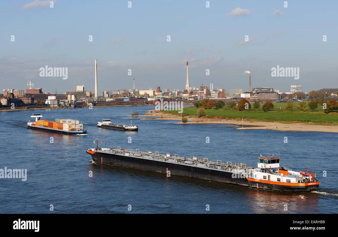 Commercial shipping river Rhine Krefeld Germany Stock Photo