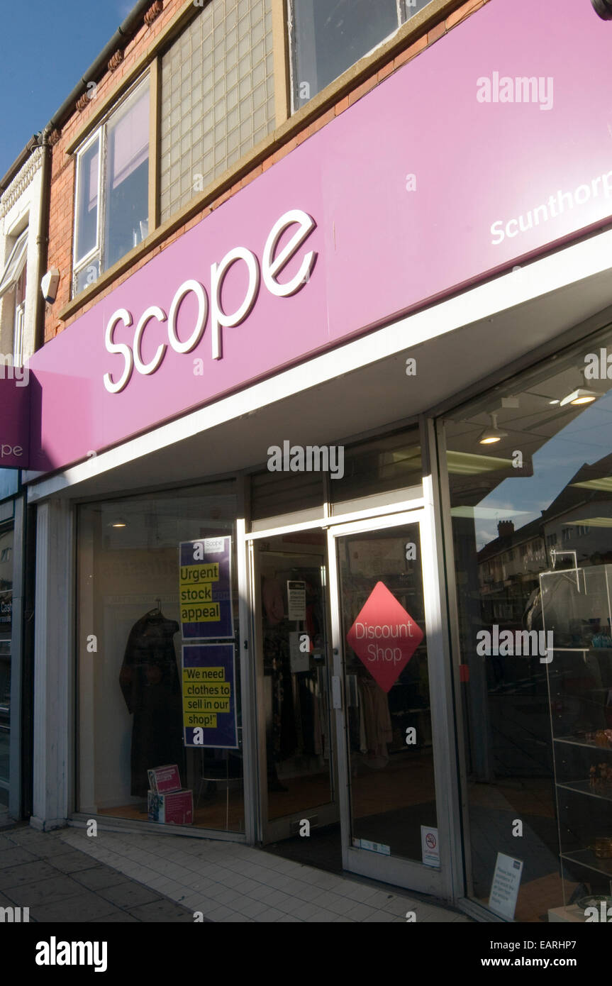 scope disability disabled charity shop shops National Spastics Society fund raising  fundraising money highstreet - Stock Image