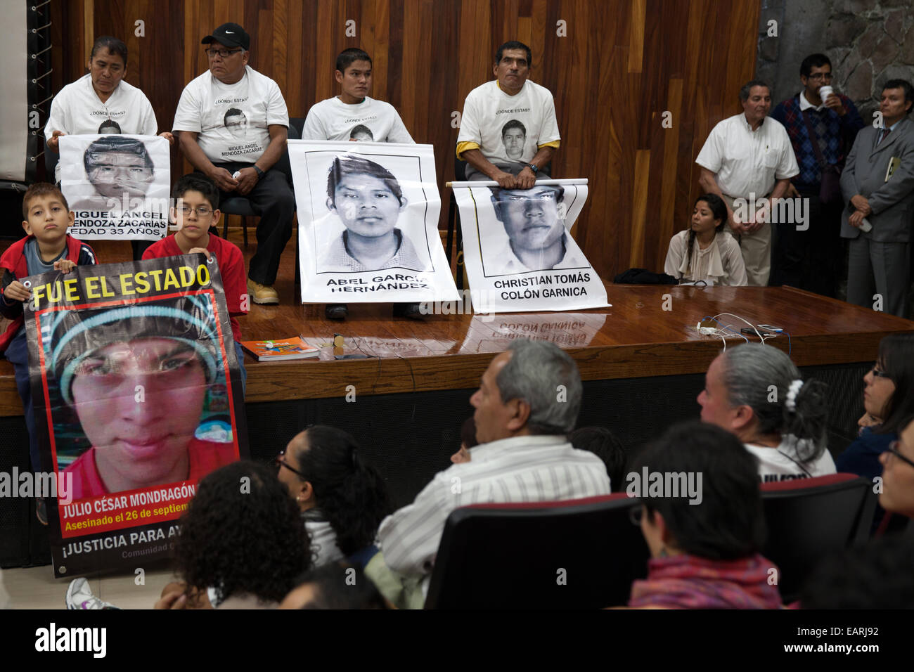 Parents and relatives of the 43 missing students from Ayotzinapa's teacher training college address medias and students Stock Photo