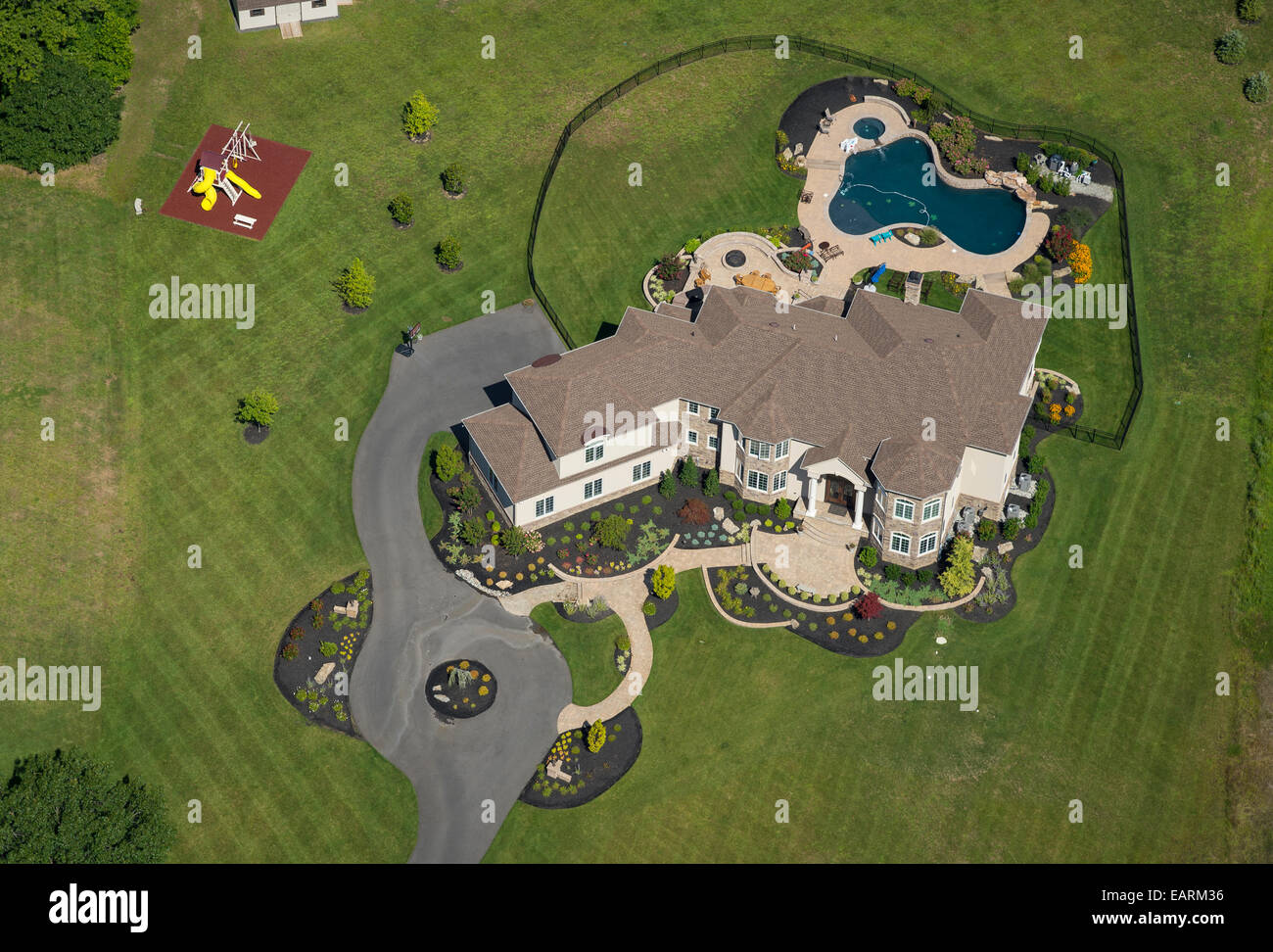 Aerial View, Large Expensive Home - Stock Image