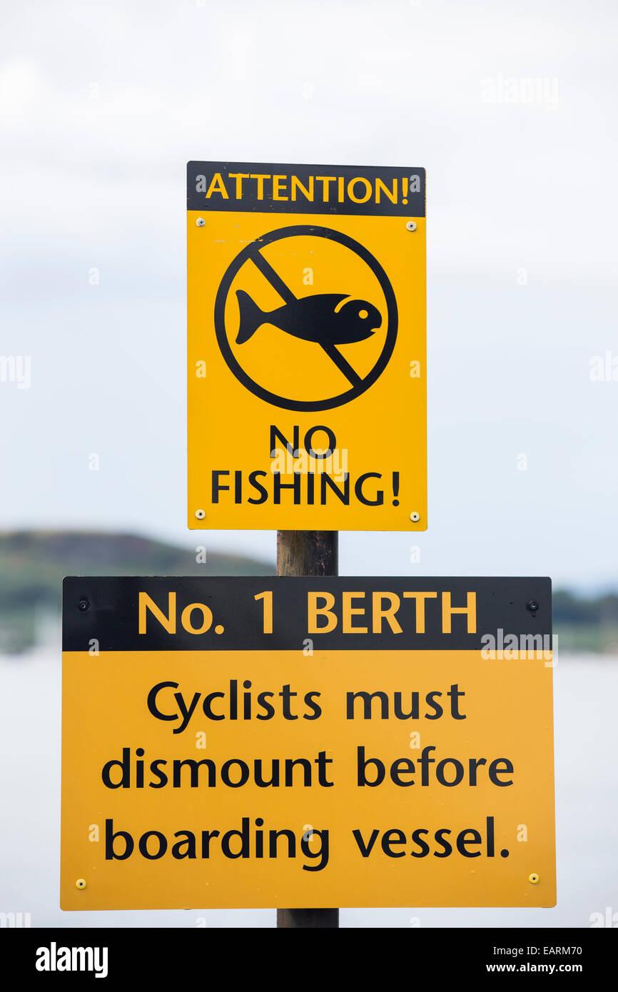 A Cal Mac ferry sign, Oban, Scotland, UK. - Stock Image