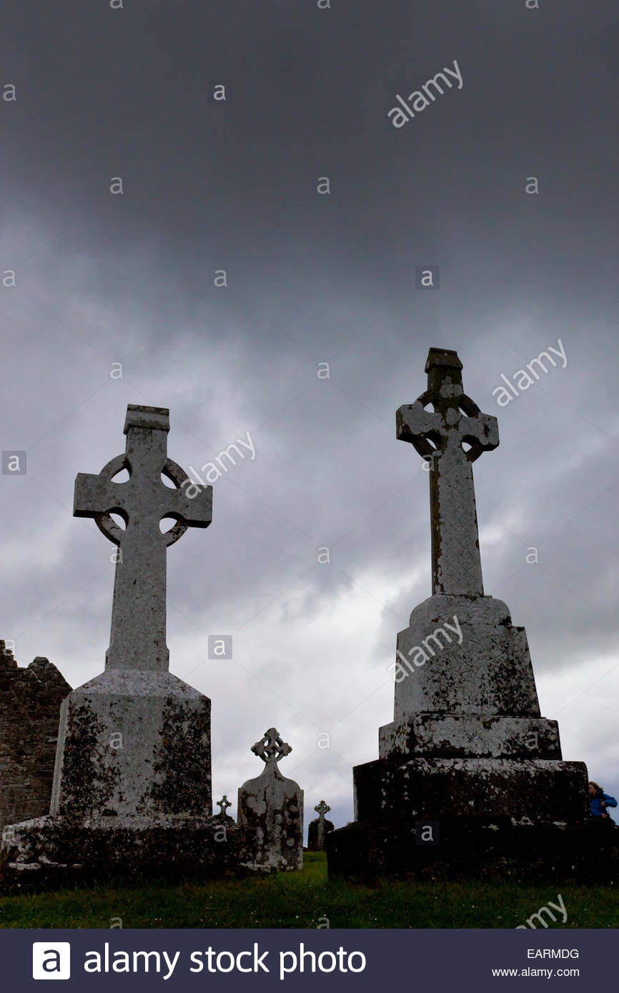 High Crosses, 9th century Celtic Crosses, Clonmacnoise. - Stock Image