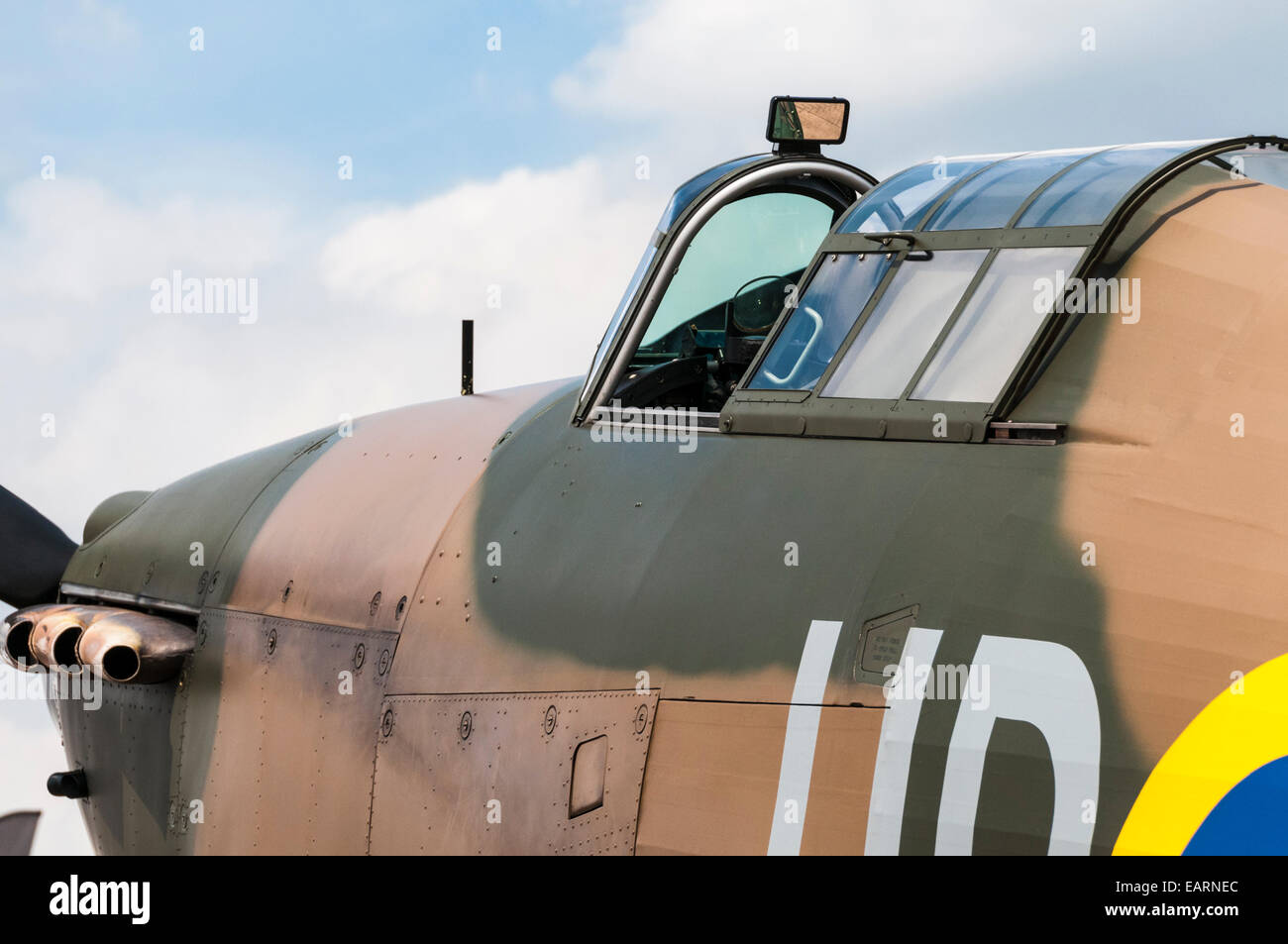 Close view of a World War 2 Hurricane fighter aircraft cockpit - Stock Image