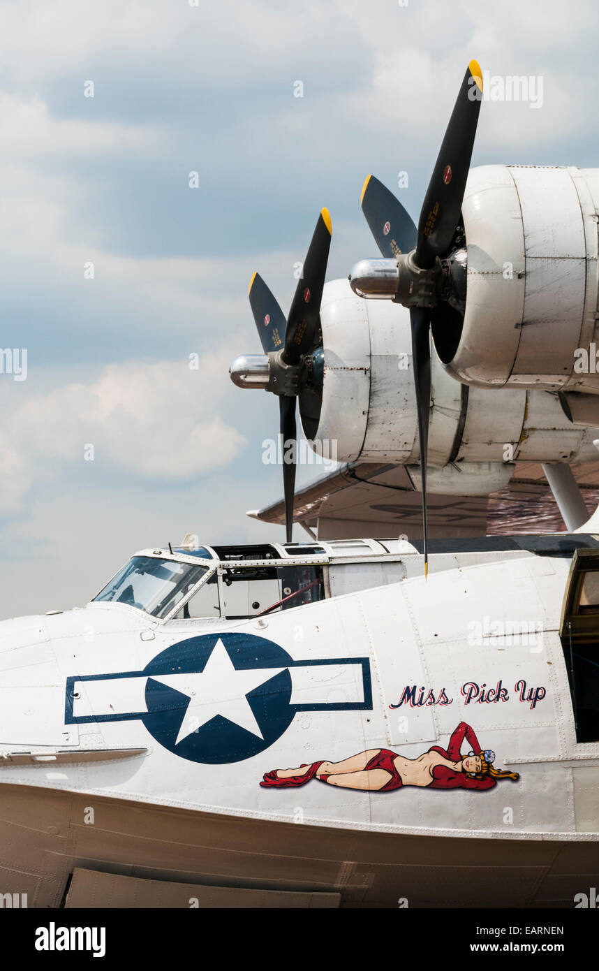 Side view of the front of a PBY-5 Catalina World War 2 maritime patrol aeroplane - Stock Image