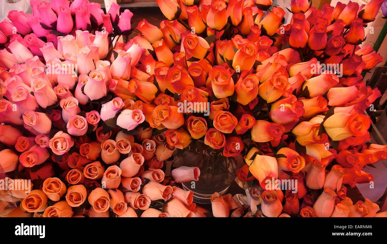A display of red roses entices buyers at the open market. - Stock Image