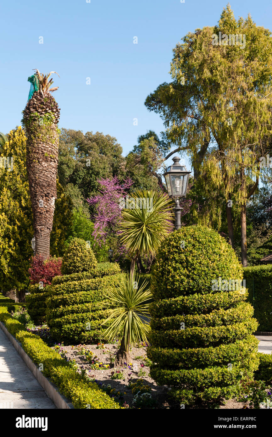 Palazzolo Acriede, Sicily, Italy. The 19c public gardens - Stock Image