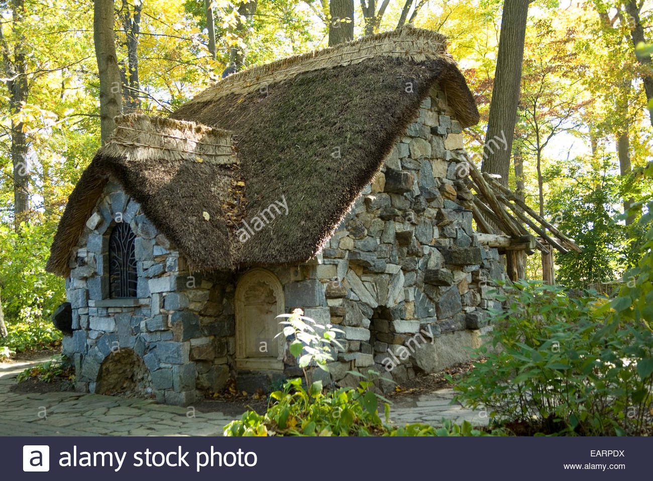 The Faerie Cottage in the Enchanted Woods in the Winterthur Garden. - Stock Image
