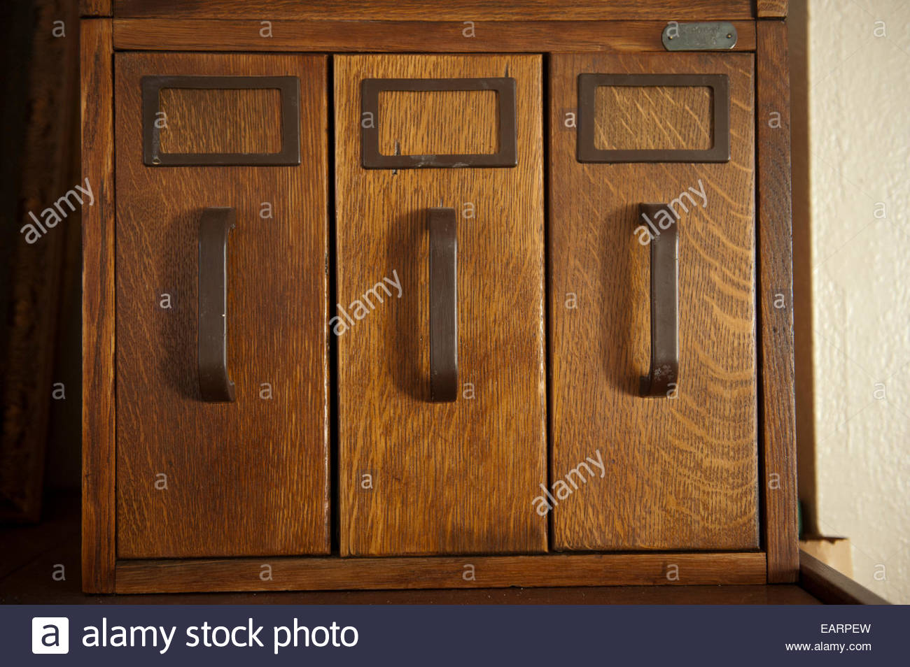 A row of cabinets. Stock Photo