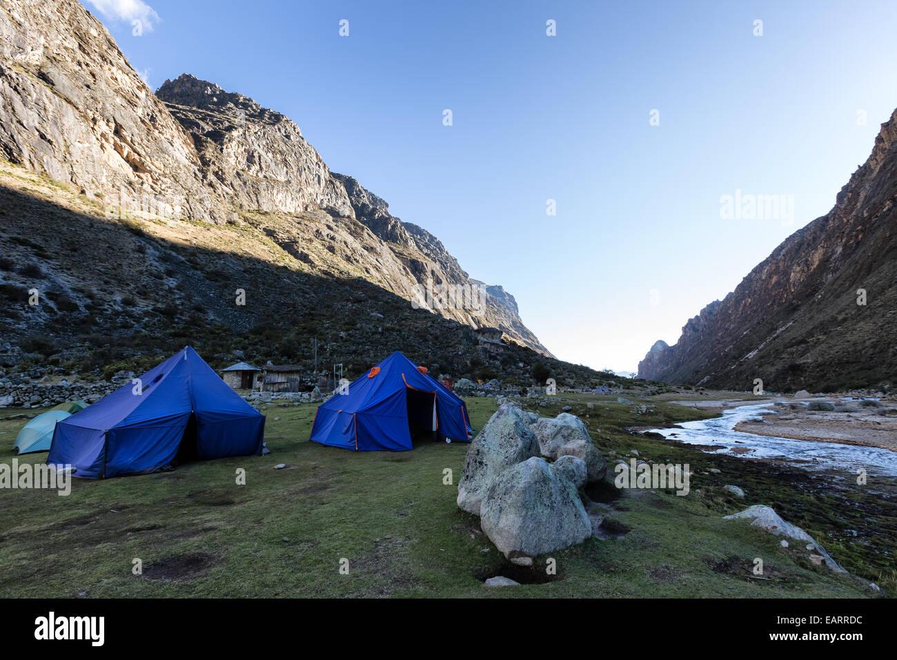 At Llamacorral camping place, Santa Cruz valley, Cordillera Blanca, Andes, Peru, South America - Stock Image