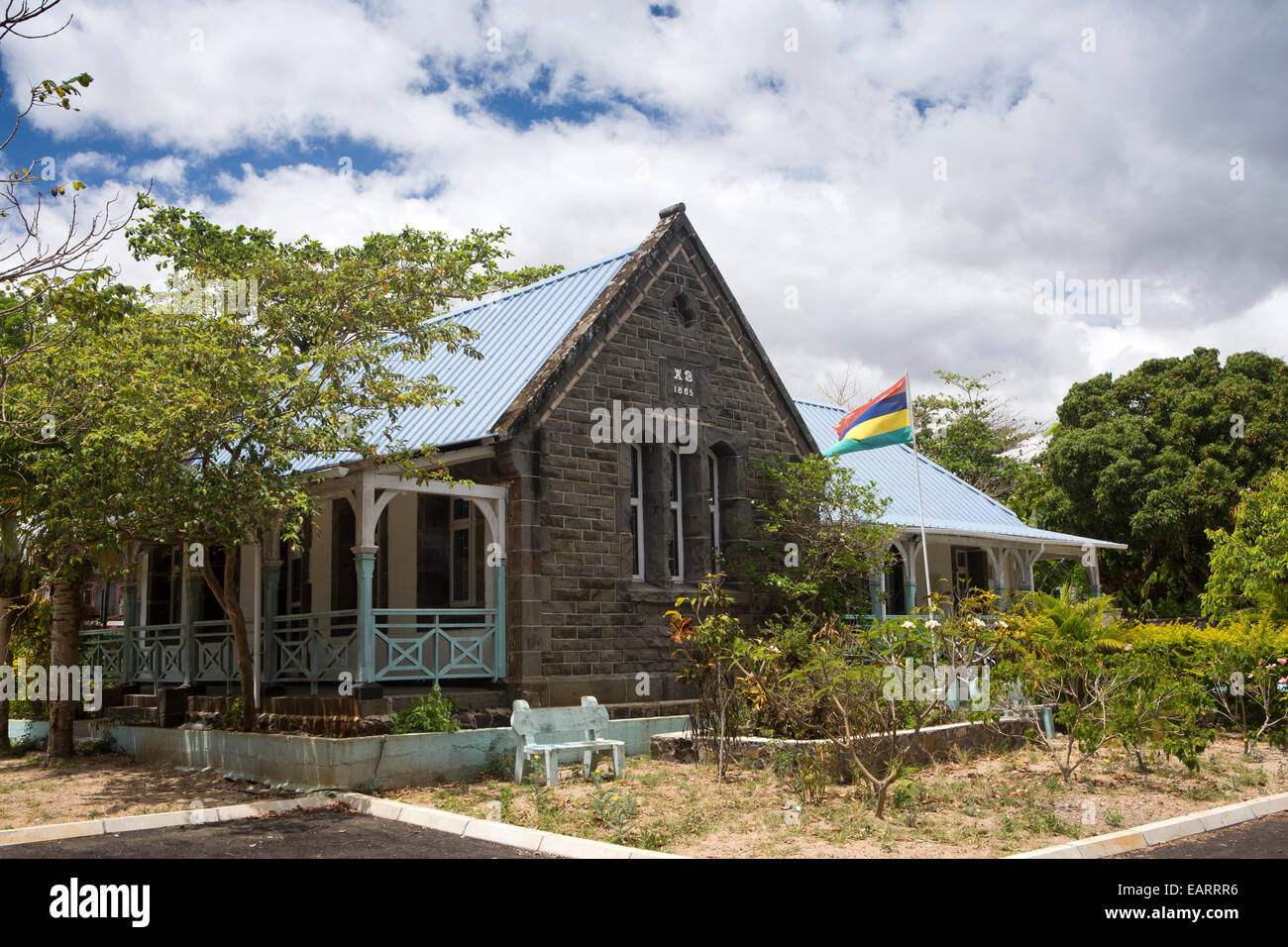 Mauritius, Grand Baie, Public Library In Old British Colonial Era Building    Stock Image