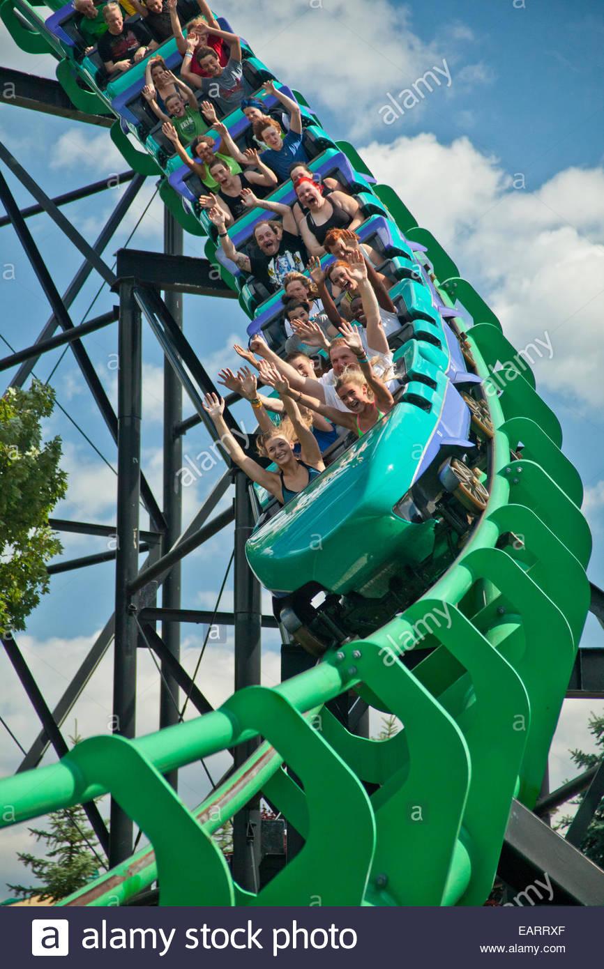 Riding the Steel Phantom at Kennywood Amusement Park - Stock Image