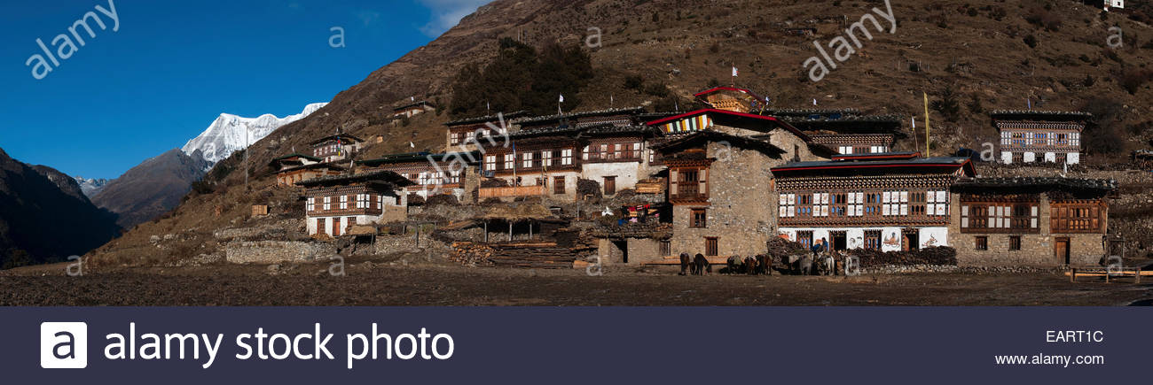 The spectacular village of Laya with Masagang visible behind. - Stock Image