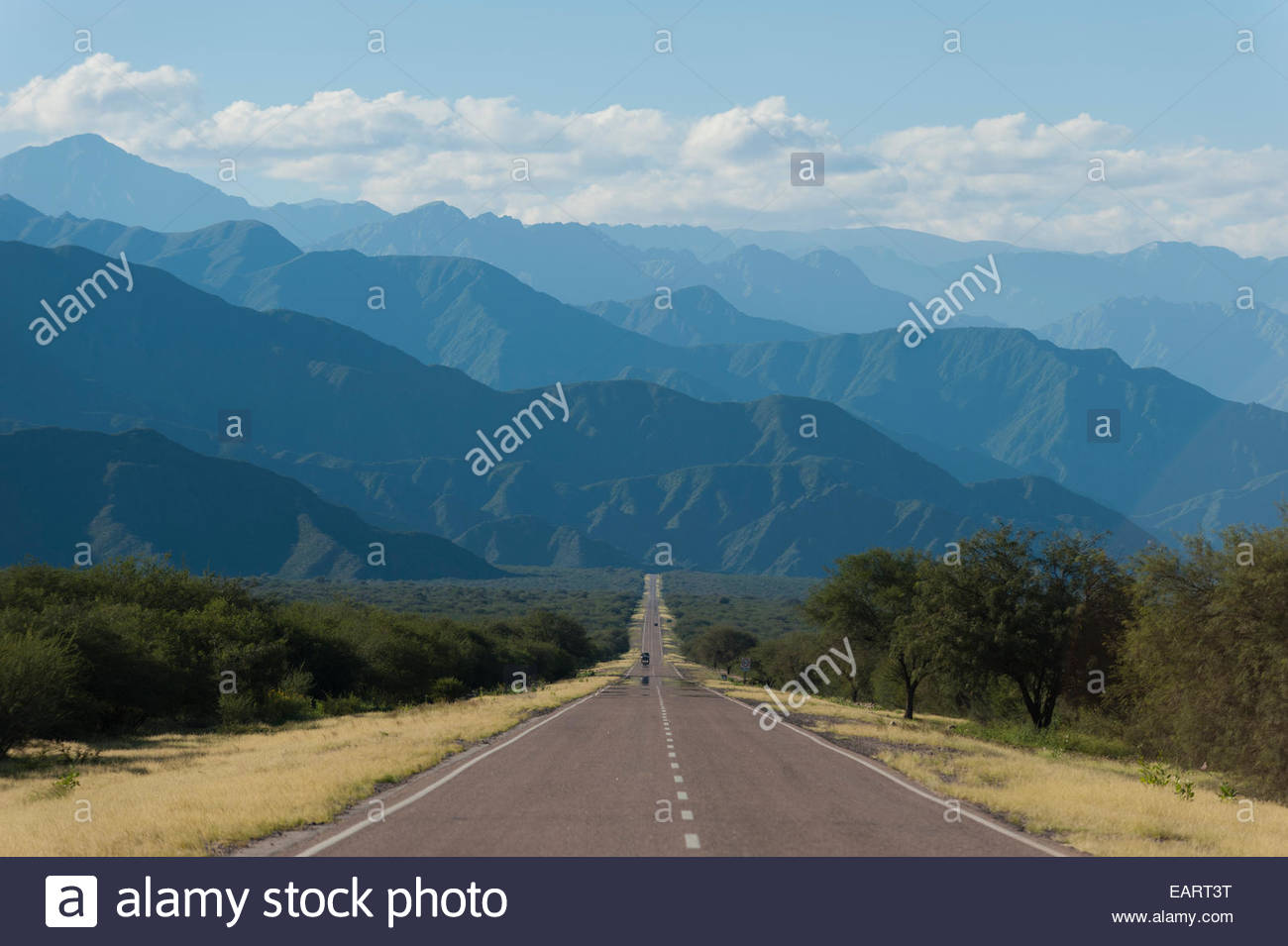 A long straight part of Route 40 in the Mendoza region of Argentina. - Stock Image