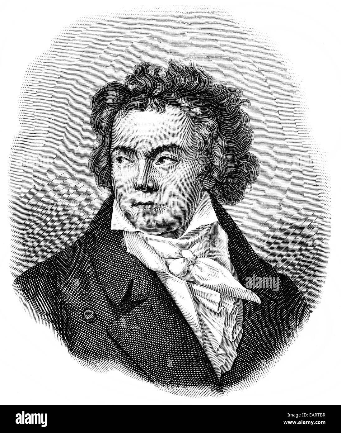 Ludwig van Beethoven, 1770 -1827, a German composer of the First Viennese School, Historische Zeichnung aus dem - Stock Image