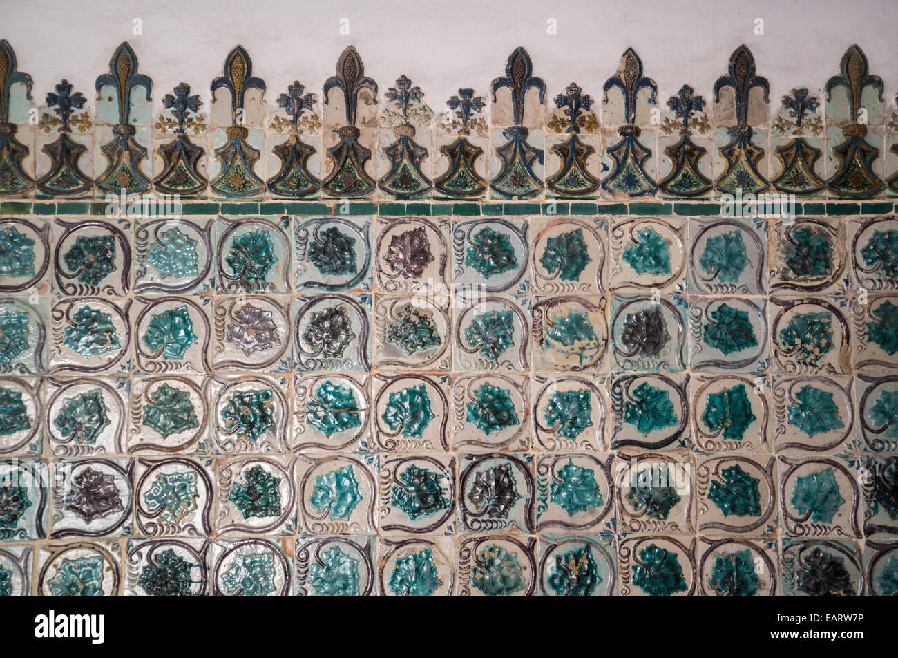 National Palace, Interior, Leaf Azulejos wall, Bedchamber of King Sebastian, Sintra, Portugal - Stock Image
