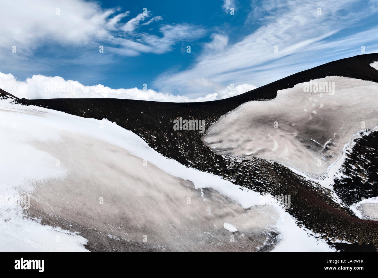 Mount Etna, Sicily, Italy. Snow and old lava flows near the summit of this active volcano - Stock Image