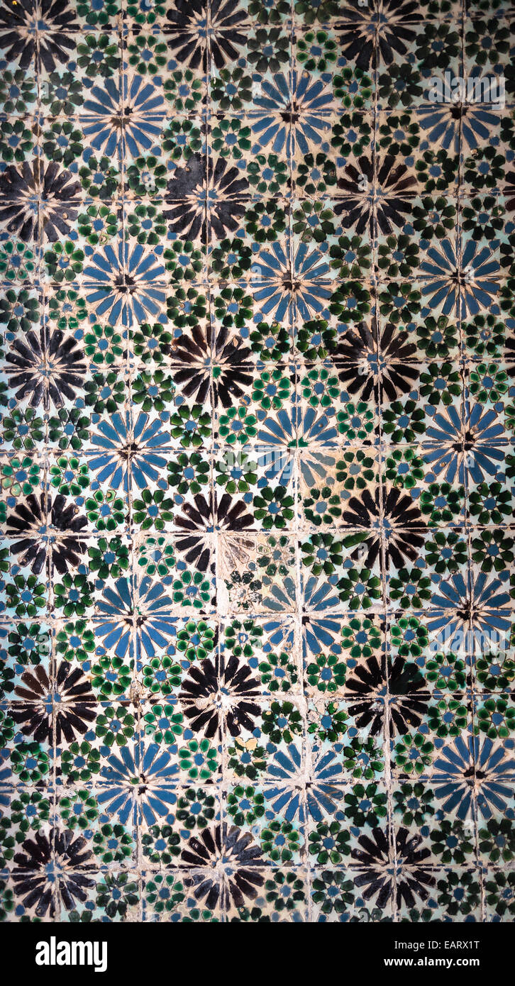National Palace, Interior, Pattern of historic azulejos, Sintra, Portugal - Stock Image