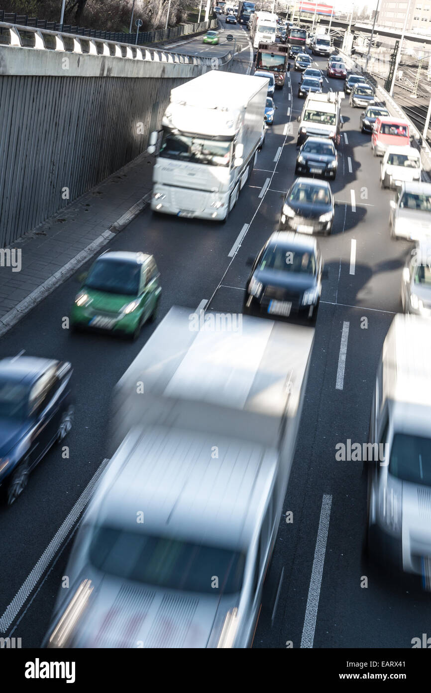 cars on highway (nearly congestion) - Stock Image