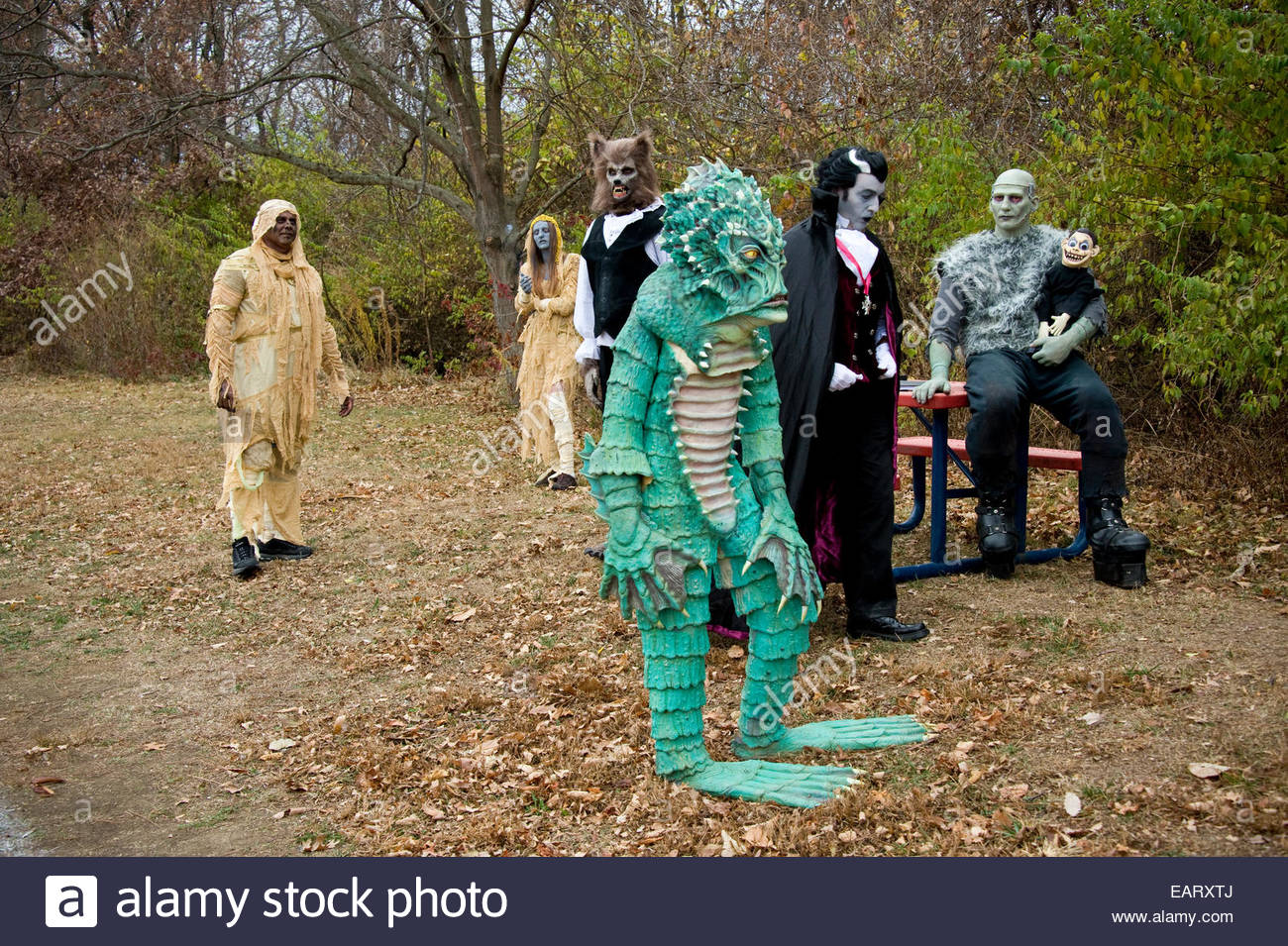 The set of a comedy-horror film. Stock Photo