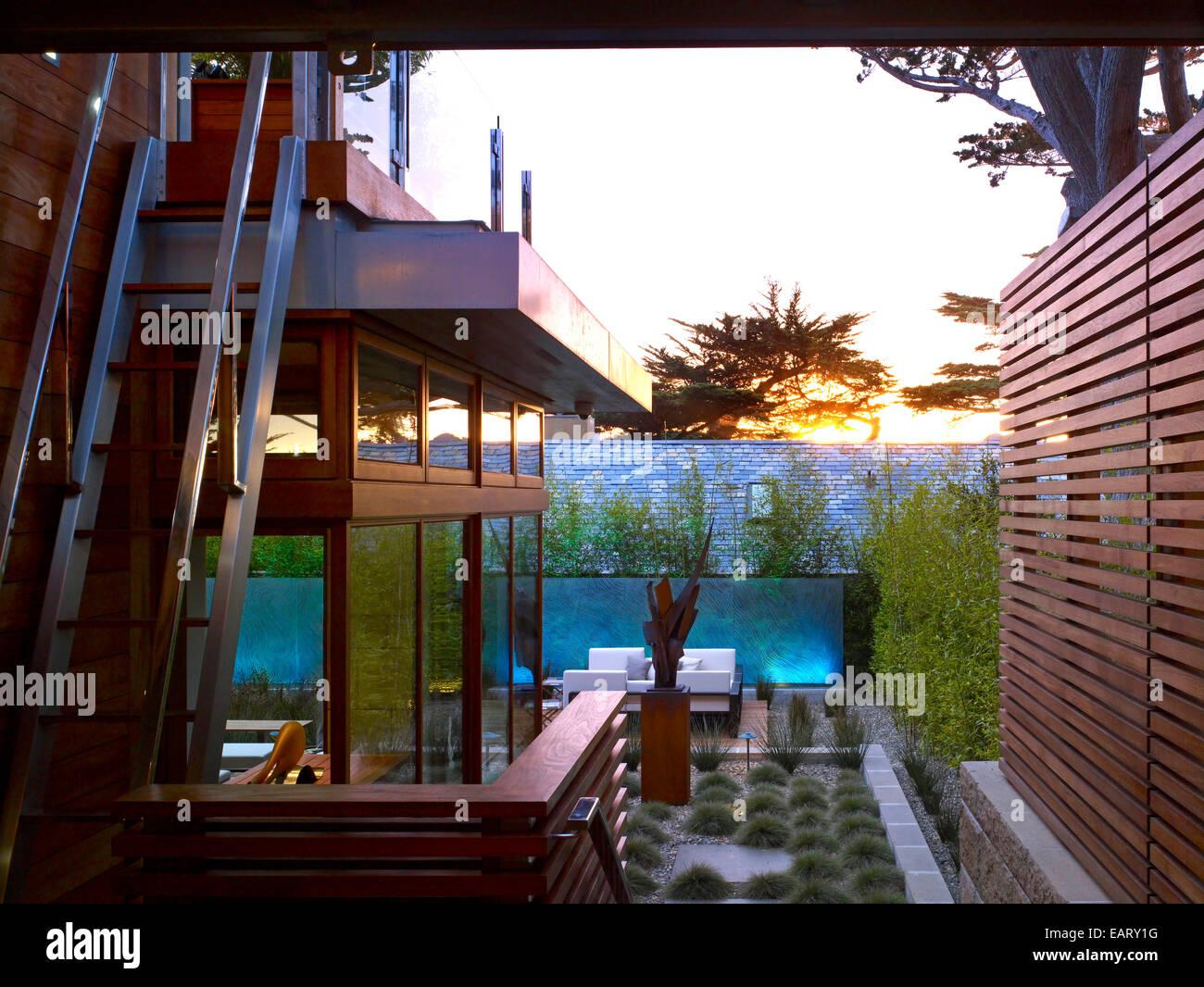 Exterior Of Modern House And Garden, Odyssey House, Carmel, California, USA