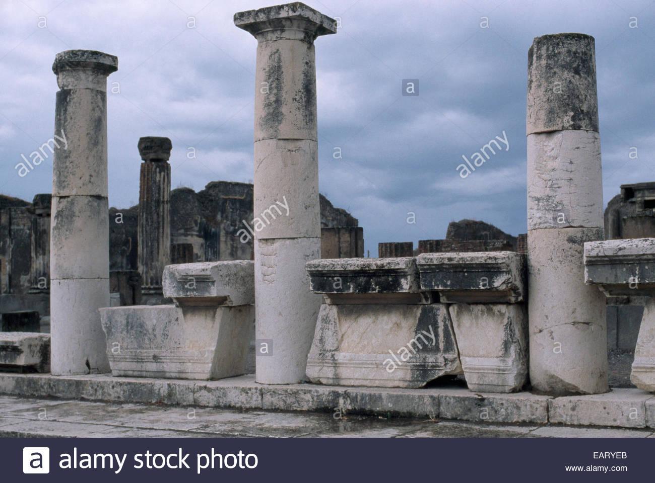 Part of the Villa dei Misteri, one of Pompeii's famous landmarks. - Stock Image