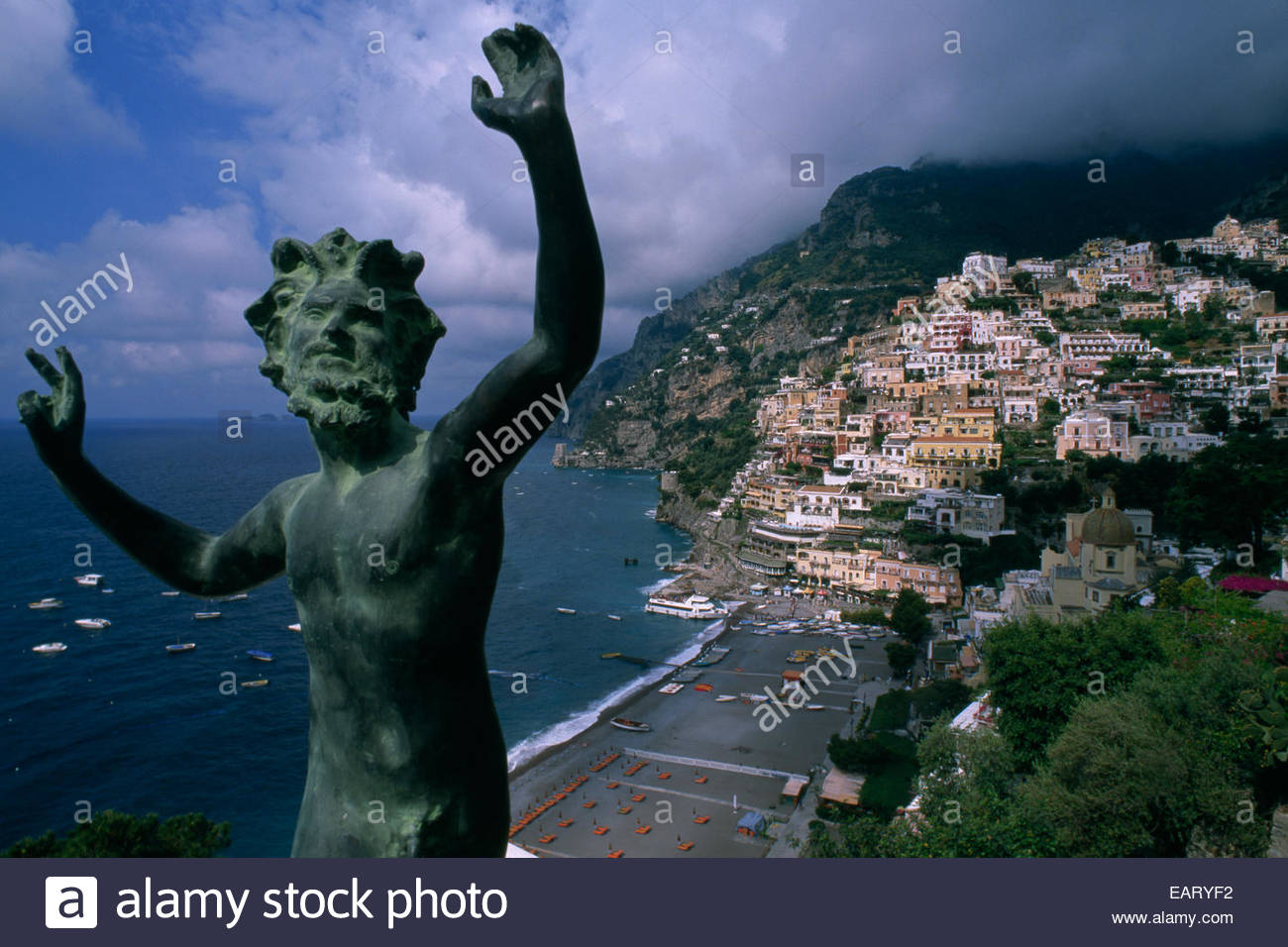 Chic hotels and high scale boutiques in Positano. - Stock Image