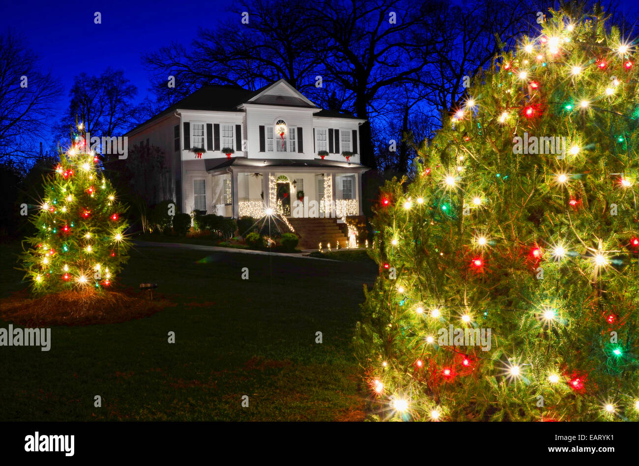 outdoor christmas trees have been decorated with red green and white lights and shot against