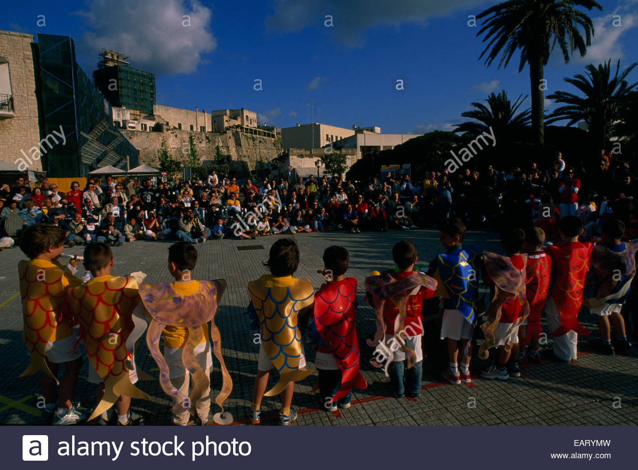 Otranto's harbor festival offers festivities and culture to visitors. - Stock Image