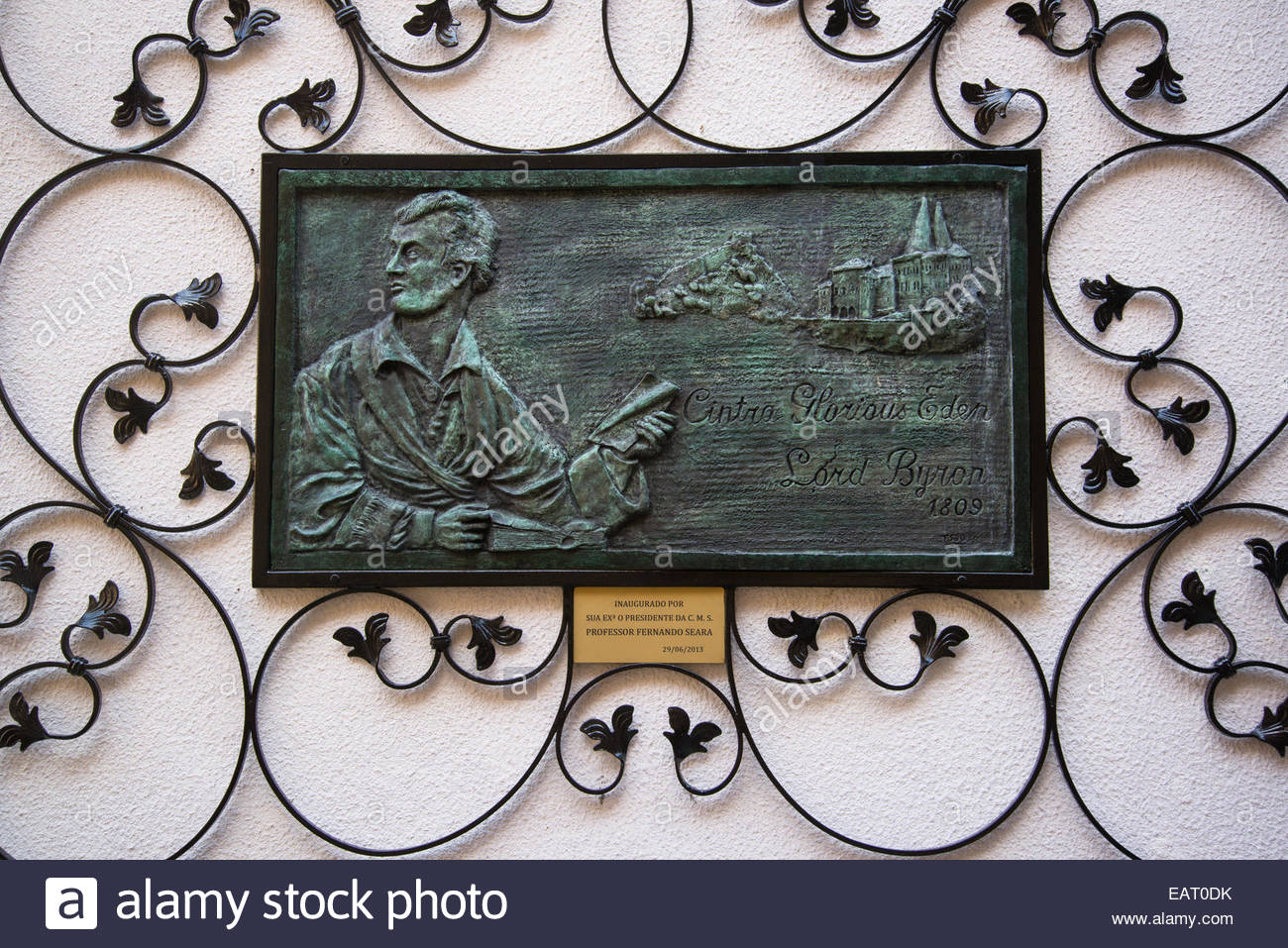 Lord Byron plaque 'Sintra Glorious Eden', Sintra, Portugal - Stock Image