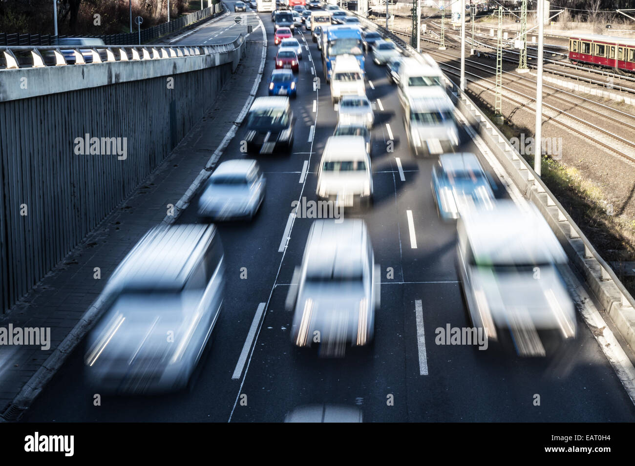 nearly congestion on highway in berlin - Stock Image