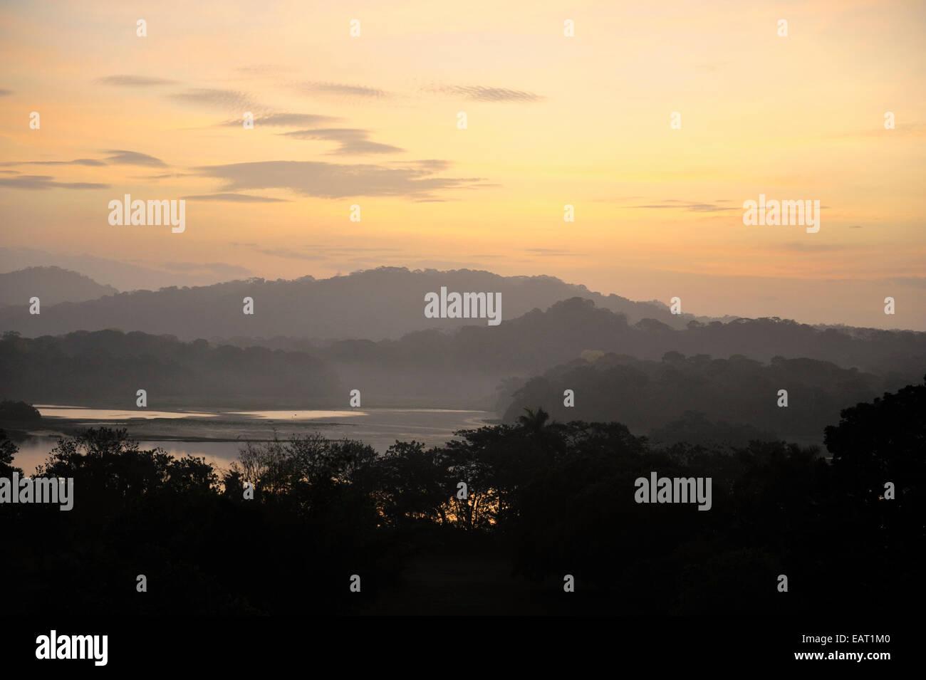 Sunrise View over Jungle Canopy & Gatun Lake Panama Stock Photo