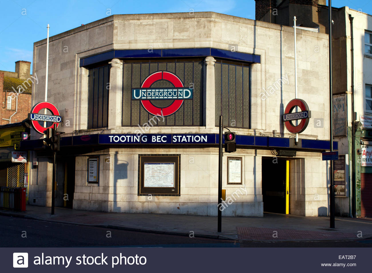 The outside of Tooting Bec underground subway station. - Stock Image